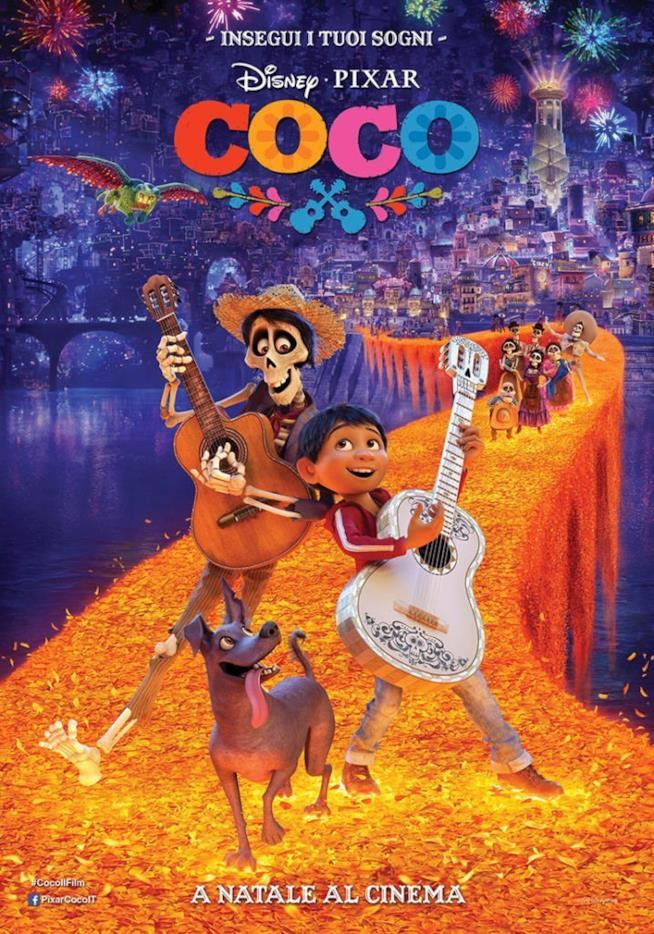 Il poster colorato con Coco e il musicista