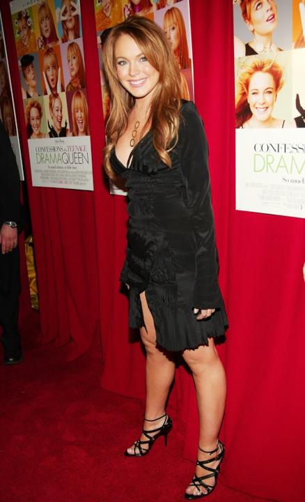 Lindsay Lohan con abito nero da sera