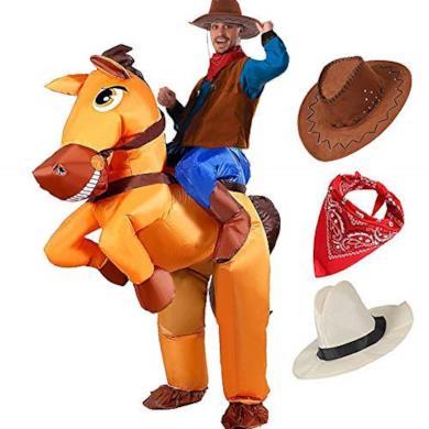Costume Adulto Gonfiabile Cowboy con Cavallo