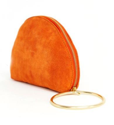 Pochette in camoscio a mezza lunga con anello per il polso