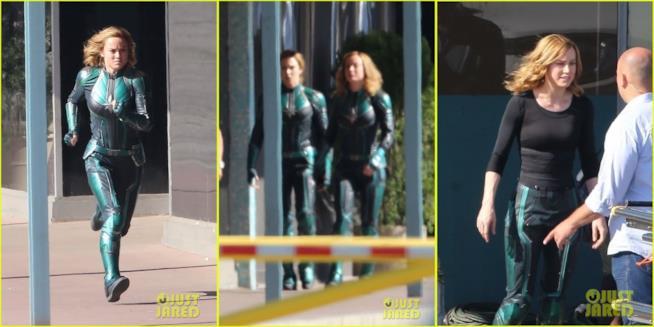 Brie Larson corre sul set di Captain Marvel