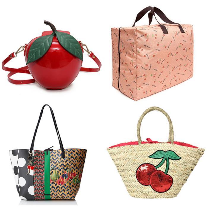 Collage di borse con stampa ciliegie