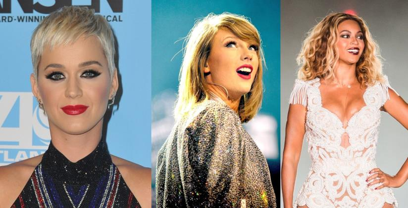 Le cantanti Katy Perry, Taylor Swift e Beyoncé