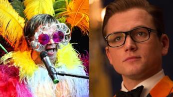 Il cantante Elton John e l'attore Taron Egerton