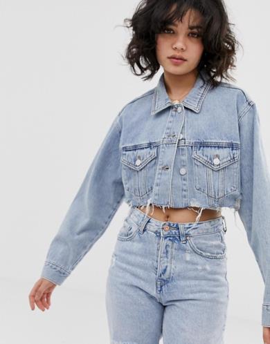 Giacca di jeans corta azzurra