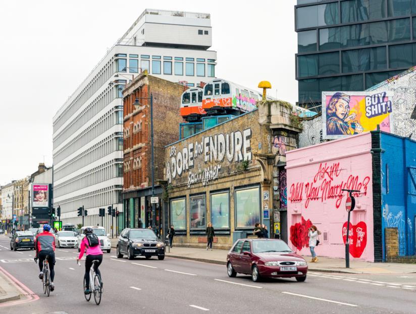 Una strada a Shoreditch, Londra