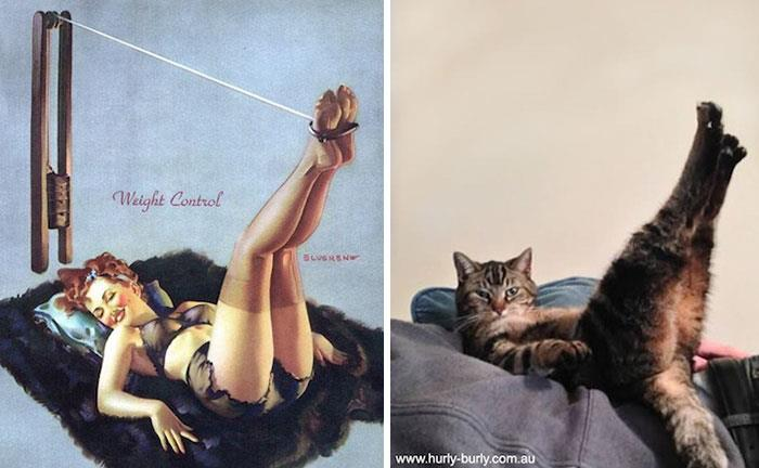 Un'illustrazione di una pin-up ed un gatto in pose identiche