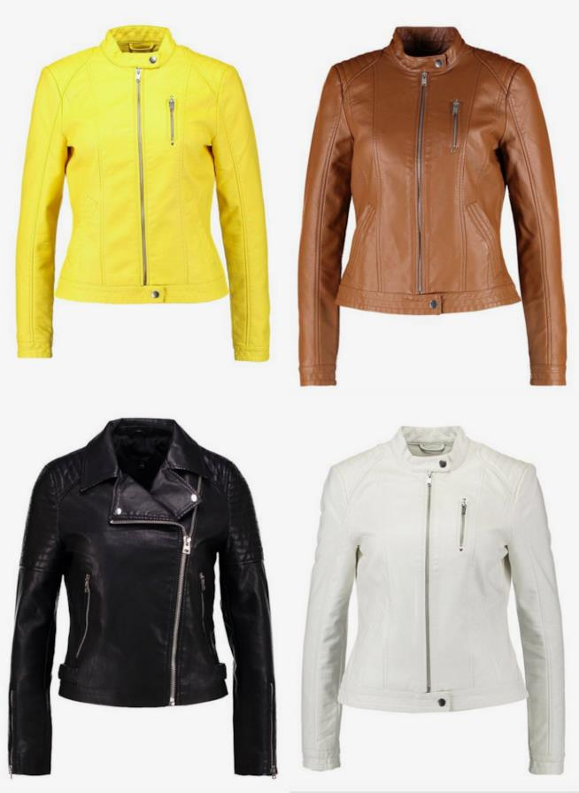 Collage di giacche in pelle di vari colori