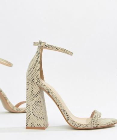Sandali pelle di serpente con tacco largo