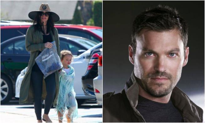 Un collage tra Brian Austin Green, Megan Fox e il figlio