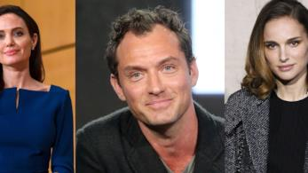 Tre foto di Angelina Jolie, Jude Law e Natalie Portman