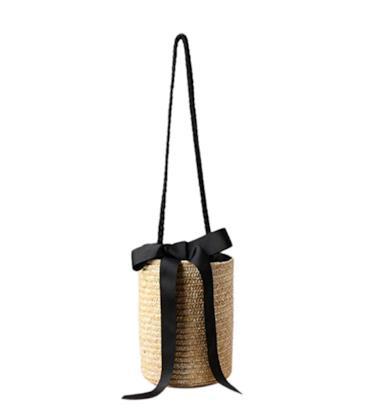 Secchiello in paglia con maxi fiocco