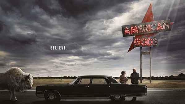 Il poster di America Gods con un'auto e i due protagonisti più un animale mistico