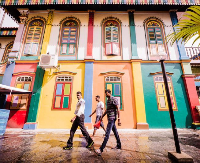 Case colorate nel quartiere indiano di Singapore