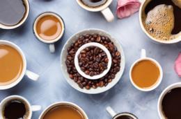 Tazze con vari tipi di caffè