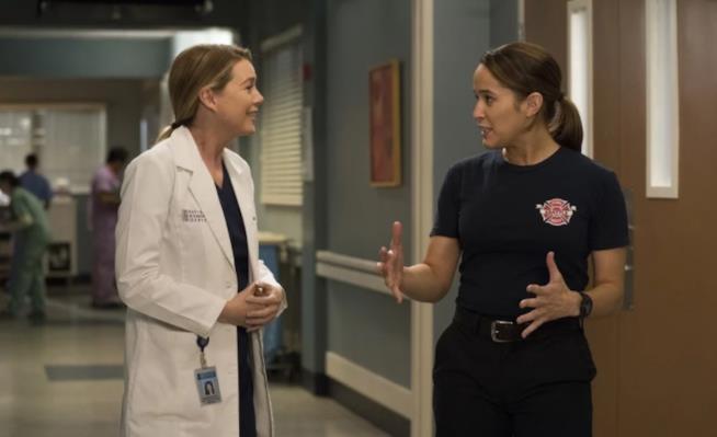 Meredith e Andy nella foto del crossover tra Grey's Anatomy e Station 19