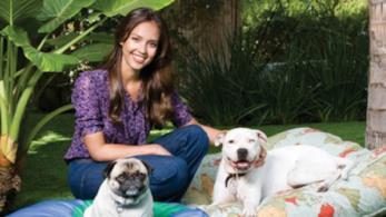 L'attrice Jessica Alba con i suoi amici a quattro zampe