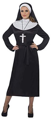 Smiffys Costume da suora, nero con abito e copricapo