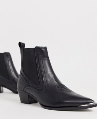 Stivaletti Chelsea stile western con dettagli in metallo neri