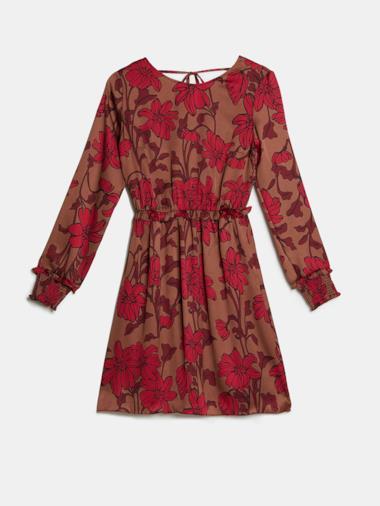 Vestito flared in raso floreale