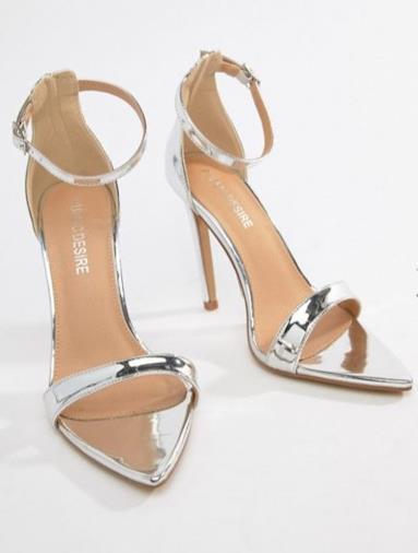 Sandali argento specchio con tacco