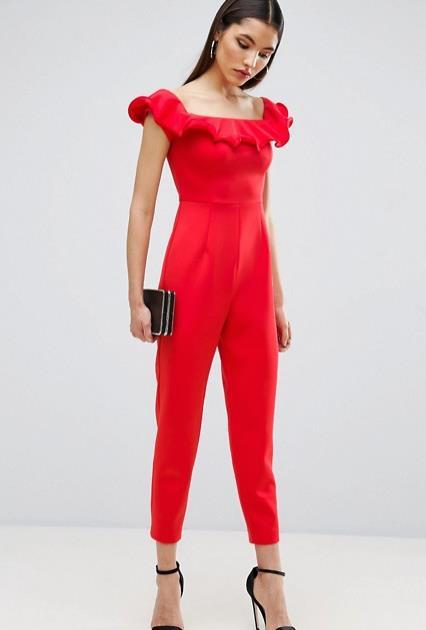 Tuta elegante rossa con pantaloni lunghi