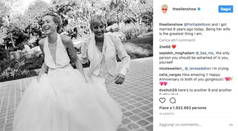 Ellen Degeneres su Instagram con la moglie Portia De Rossi