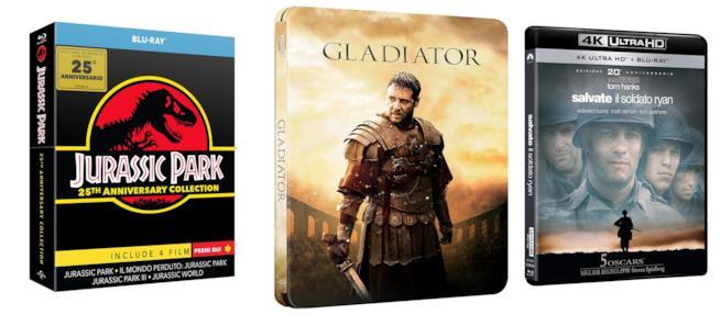 Edizioni da collezione dei film Jurassic Park, Il gladiatore e Salvate il soldato Ryan