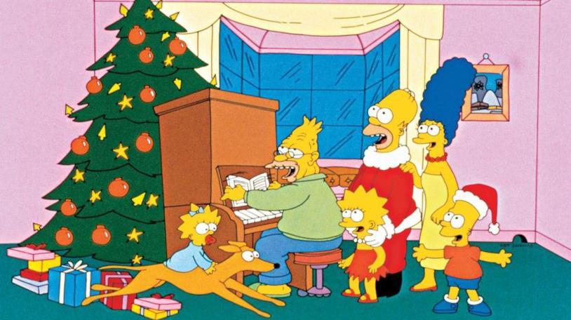 La famiglia Simpson al completo attorno al pianoforte