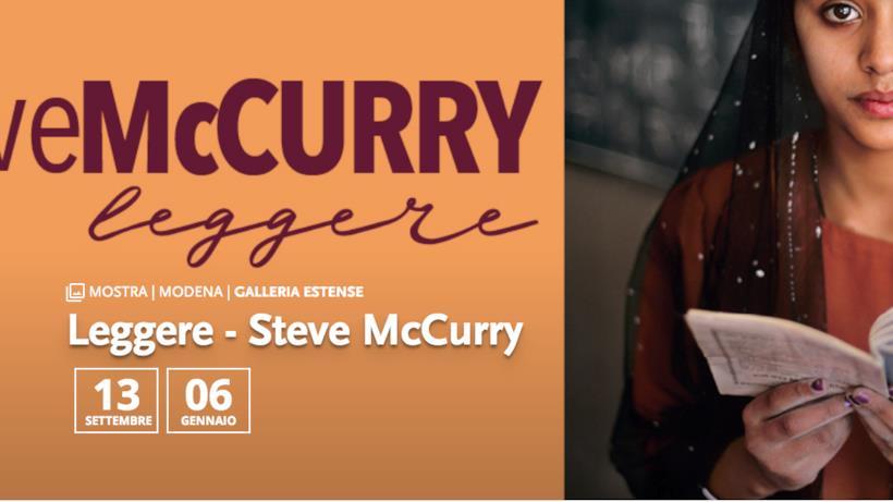 Banner della mostra Leggere di Steve McCurry