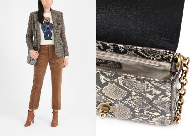 Borsa a tracolla fantasia serpente di moda