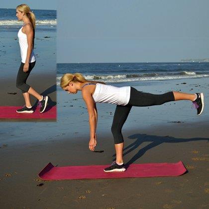 Fitness, Nora Tobin illustra lo stacco della gamba