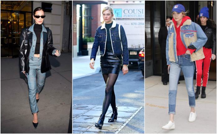 Le top model indossano le giacche in denim per la primavera 2018