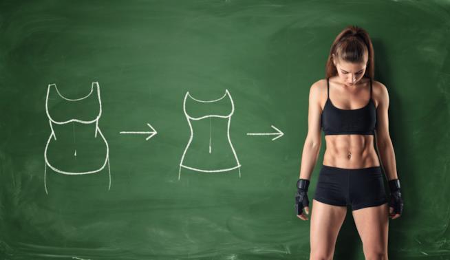 Una ragazza in ottima forma fisica è davanti ad una lavagna con i disegni di un corpo in forma e uno più rotondo