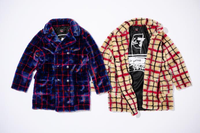 Cappotto in pelliccia sintetica a doppio petto con stampa tartan e bottoni in metallo Supreme/Gaultier