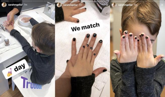 Rocky, il figlio di Sarah Michelle Gellar, durante una manicure con la madre