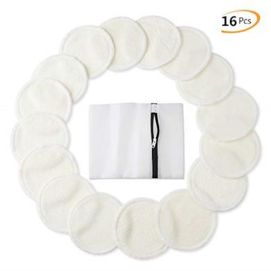 Cuscinetti Per Struccare (16 Pezzi), Cotone Organico Riutilizzabile Con Sacchetto Di Lavanderia, Panni Lavabili Per Il Viso