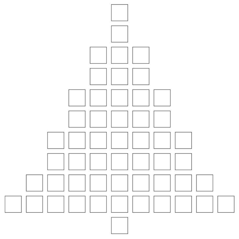 Albero di Natale formato da quadrati da colorare