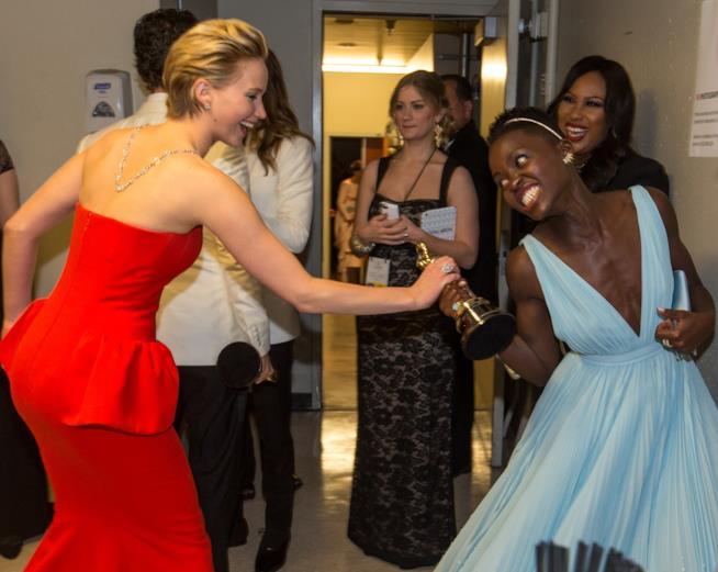Le attrici Jennifer Lawrence e Lupita Nyong'o