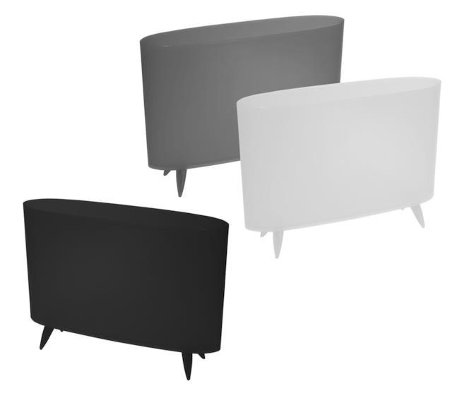 Portariviste Koziol in plastica in tre versioni di colore: nero, grigio e bianco
