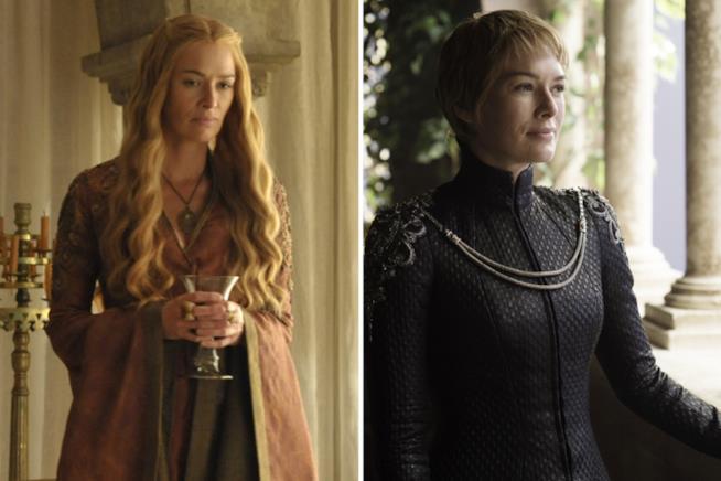 Cersei Lannister con i capelli lunghi e poi corti