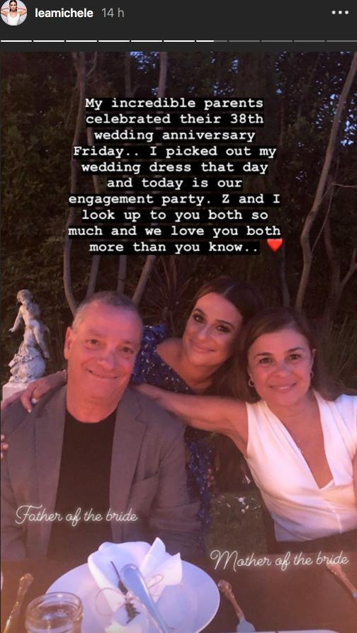 Lea Michele con i genitori su Instagram