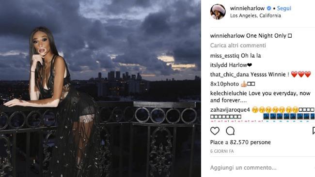 Winnie Harlow indossa un abito nero al party Dior Addict Lacquer Plump