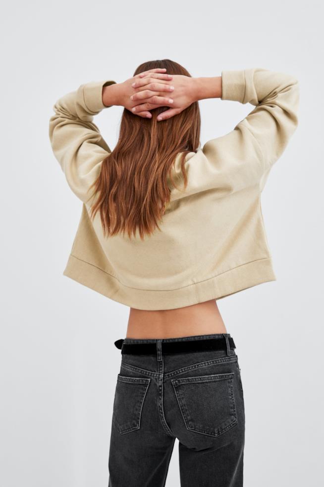 Felpa bicolore di Zara corta