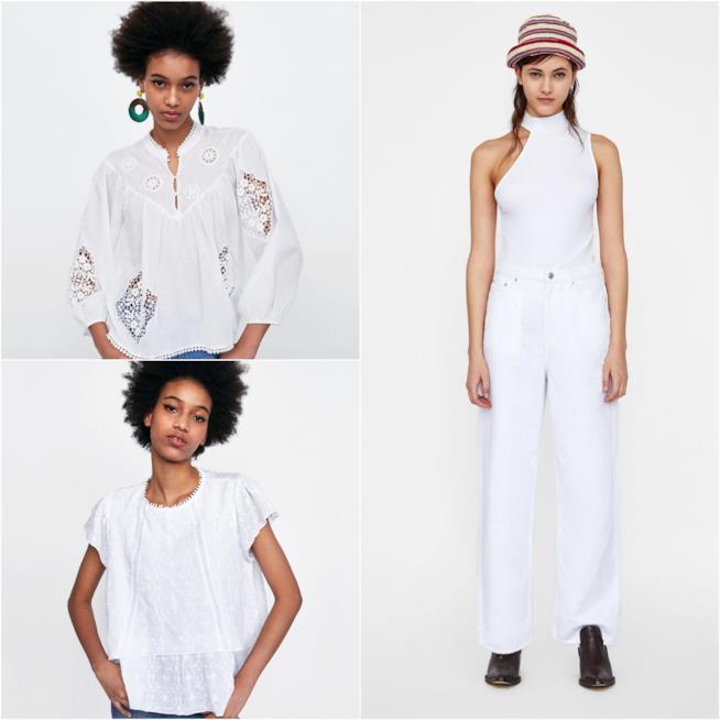 Outfit in bianco a Zara