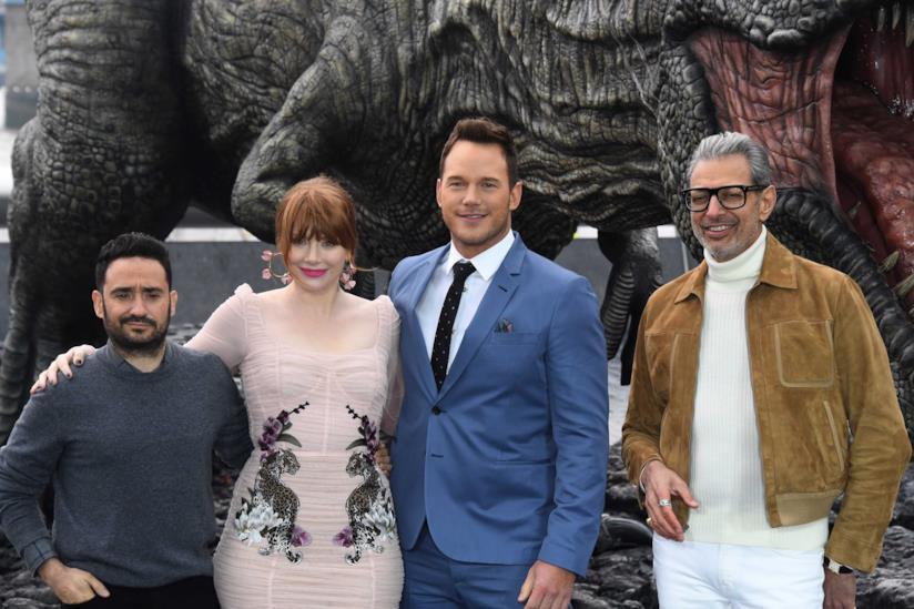 Il regista Juan Antonio Bayona con Bryce Dallas Howard, Chris Pratt e Jeff Goldblum
