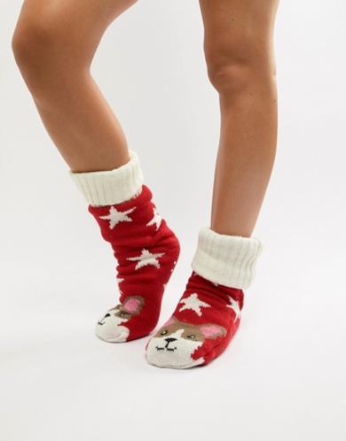 Calze pantofola con fodera in pile e corgi