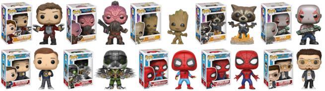 dieci pupazzi FunKo in vinile ispirati ai personaggi di Guardiani della galassia 2 e Spider-Man Homecoming