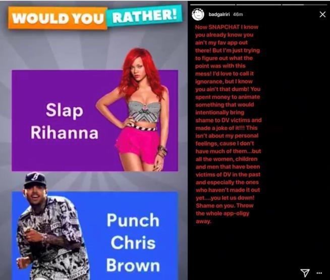 Rihanna contro Snapchat