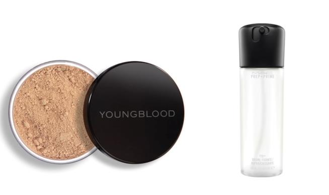 Fondotinta Youngblood e spray fissante make-up Mac Cosmetics